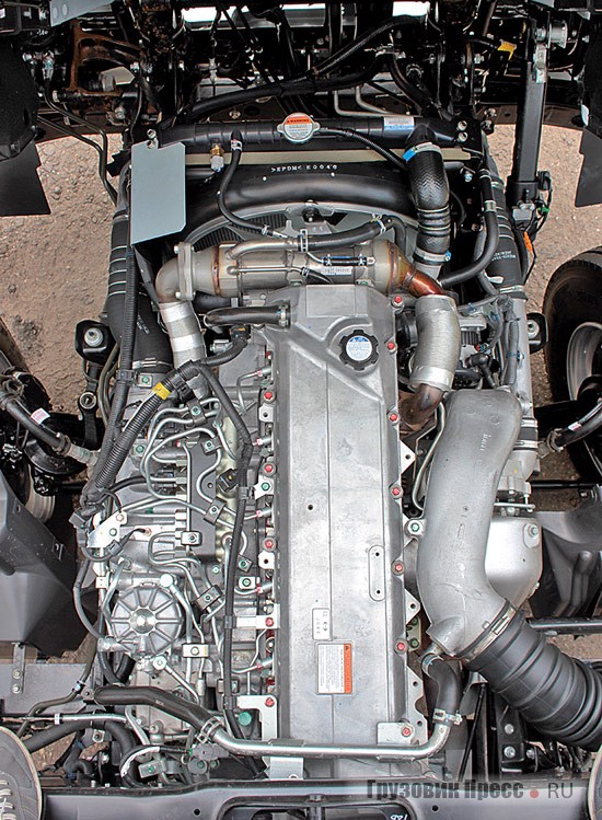 "Inline petrol ""six"" power of 260 HP, not only perfectly cope with their responsibilities, but briskly moves Hino in space"