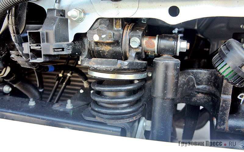 Cab suspension front shock tower struts, rear – spring loaded beam